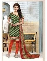 Saara Green And Orange Printed Dress Material - 144D4056