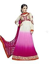 Adah Faux Georgette, Shantoon, Chiffon Dress Material (white) - 581-1905