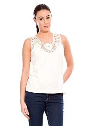 Cortefiel Camiseta Bordada Sin Mang (Blanco)