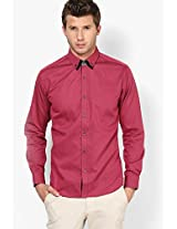 Red Solid Slim Fit Casual Shirt