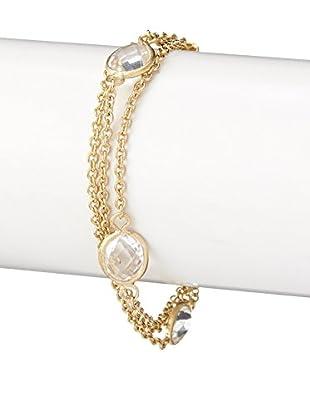 Rivka Friedman 18K Gold Clad Rock Crystal 3 Row Petite Bracelet