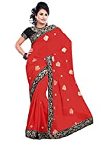 Utsav Fashion Women's Red Faux Georgette Saree with Blouse