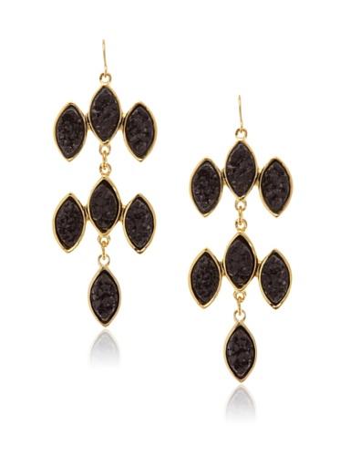 Kara Ross Black Drusy Marquis Chandelier Earrings