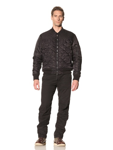 Maharishi Men's Diamond Quilted Aviator Tour Jacket (Black)