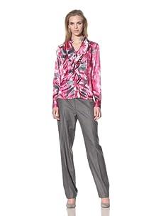 Jones New York Women's Long Sleeve Ruffle Blouse (New Garland Multi)