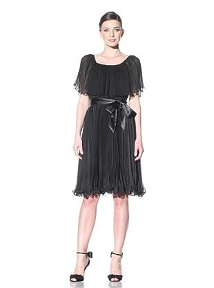 ABS by Allen Schwartz Women's Pleated Tie Waist Dress (Black)