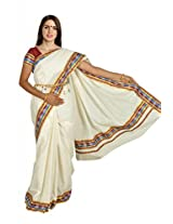 Atex Cotton Zari Saree With Blouse Piece (5196 -Ivory)
