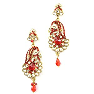 I Jewels Ethnic Collection Gold Plated Brass Alloy Elegantly Handcrafted Pair of Fashion Earings for Women (E2057R)