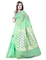 Asavari Cotton Banarasi Saree(A15Bel-Zri-Grn_Celadon Green)