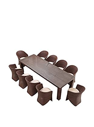 Ceets Palm 10-Seat Outdoor Dining Set, Brown/White