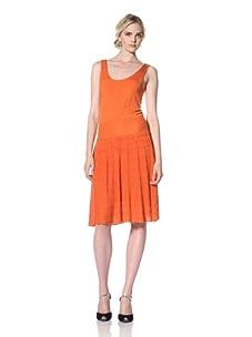 Natori Women Dress with Pleated Stitch Skirt (Burnt orange)