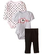 Bon Bebe Baby Girls Newborn Love And Polka Dots 3 Piece Bodysuit And Legging Set By Bon Bebe