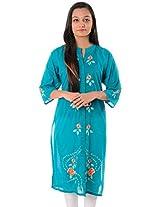 Azalea24 Women's Cotton Kurta (AZ2411, Blue, Medium)