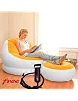 Intex Inflatable Comfy Velvet Sofa Chair With Stool & Air Pump - Yellow & White