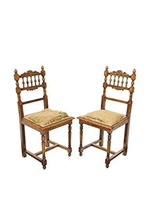 Pair of Renaissance Style Chairs, Brown/Tan
