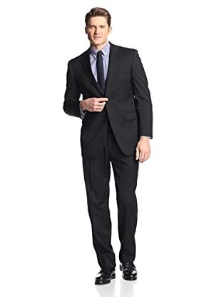 hickey Men's Solid 2 Button Center Vent Suit with Pleated Trousers (Black)
