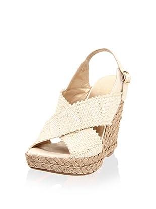 Stuart Weitzman Women's Toogood Wedge Sandal (Ivory Wrinkle Raffia)