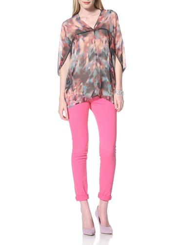 Nicole Miller Women's Printed Drop Shoulder Lounge Tee (Jet)