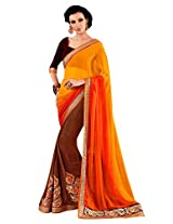 Faux Georgette Brown & Red/Orange Colour Saree for Party Wear
