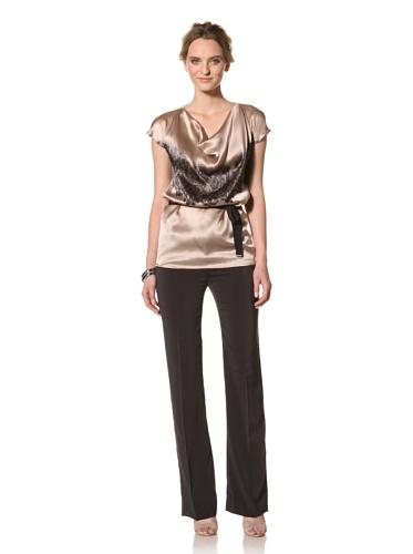 Les Copains Women's White Label Lace Print Mesh Top (Blush/Asphalt)