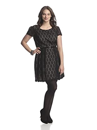 Single Plus Women's Lace Swing Dress (Black/Nude)