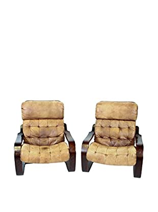 Pair of Bentwood Leather Chairs, Brown