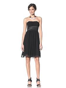 Donna Morgan Women's Strapless Chiffon & Satin Dress (Black)