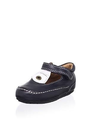 Venettini Kid's Luke T-Strap Loafer (Navy Leather/White Cloud)