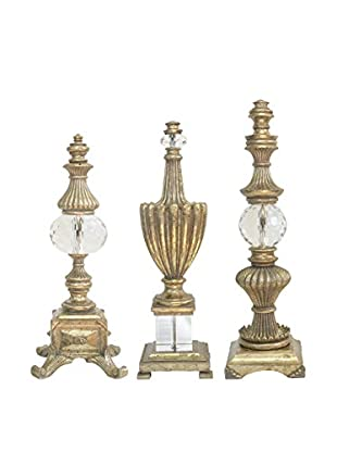 Couture Highland Park Set of 3 Finials, Opulent Silver/Optic Crystal