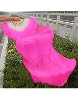 1.8m Lengthen Belly Dance Fan Silk Bamboo Fans Dance Dancing Performance Supplies (rose)