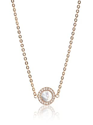 Chloe Collection By Liv Oliver Rose Mother of Pearl & Crystal Disc Necklace