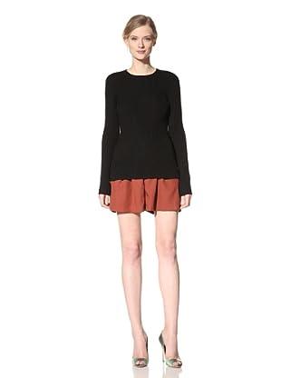 DEREK LAM Women's Corded Wool Crewneck Sweater (Black)