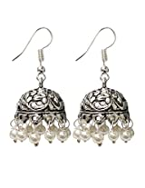 Abhooshan Good looking pair of Jhumkis in Silver Alloy with pearls