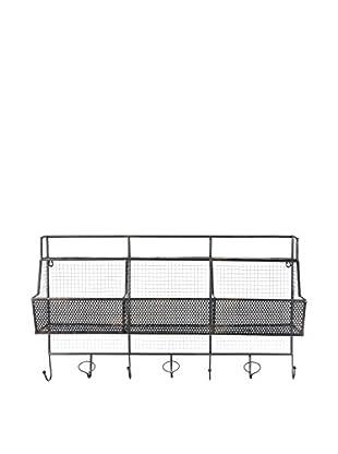 Skalny Metal Wall Basket With Hooks, Grey