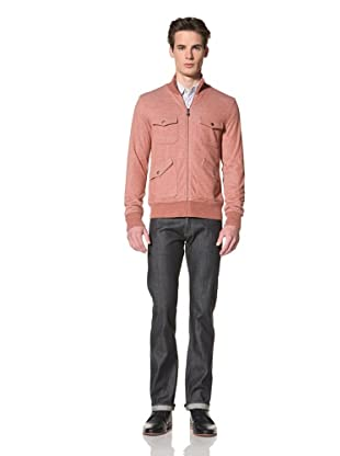 Onassis Men's Cabell French Terry Zip Up Jacket with Jacquard Lining (Heather Red)