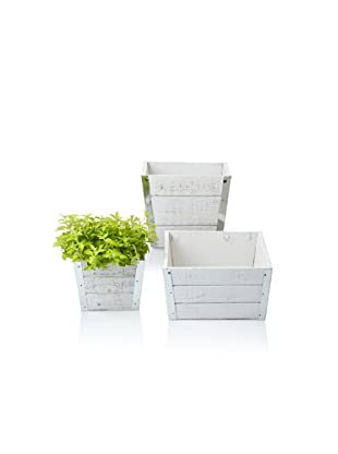 Wald Imports Set of 3 Square Wood Planters with Metal Trim, Distressed White