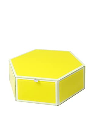 Mia Collection Glass Hexagon Storage Box (Yellow)
