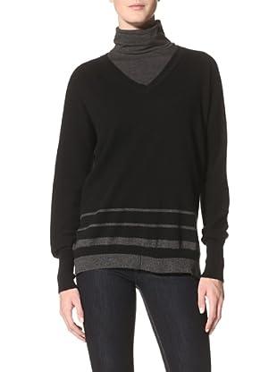 Kokun Women's Striped V-Neck Dolman Sweater (Black/Charcoal)
