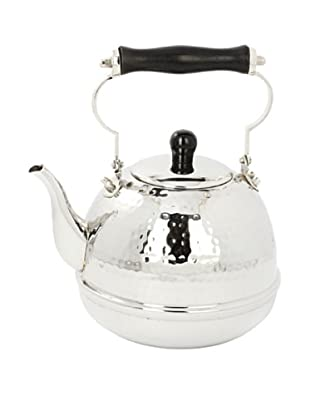Old Dutch International 2-Qt. Hammered Stainless Steel Tea Kettle with Wood Handle