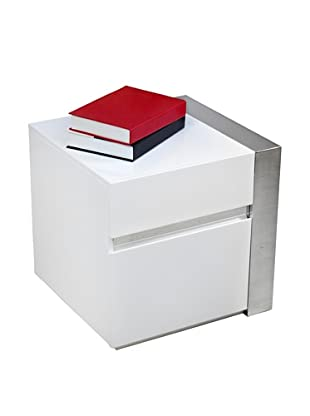 Casabianca Furniture Cristallino Left Side Table, White