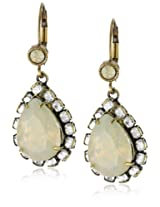 "Liz Palacios ""Circulo"" Teardrop Sand Opal Solitaire Crystal Earrings"