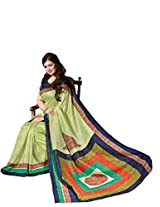 Lemon Green Colour Faux Bhagalpuri Semi Party Wear Geometric Printed Saree 13325
