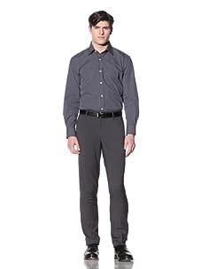 English Laundry Men's Mini Plaid Dress Shirt (Blue/Black)