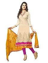 Cream unstiched salwar kameez gives royal effect