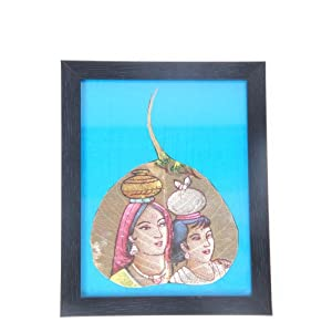 Creative Box Leaf Painting - Mother & Child On Blue Background