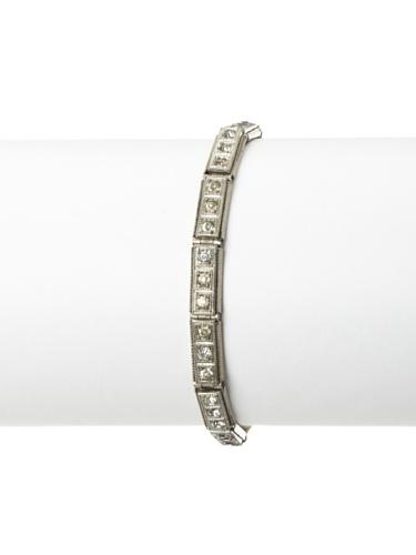Lulu Frost 1920's Art Deco Sectional Crystal Bracelet, Antique Silver