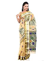 B3Fashion Traditional Ethnic Bengal Pure Tussar Silk Beige Handloom Saree with vertical pattern all over the saree with multiclored floral / Zari weaves with multicolored zari weaved border and heavy floral weaved multicolored / Zari pallu