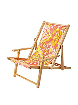 Julie Brown Reversible Beach Chair, Pink Gidget/Orange Polka Dot