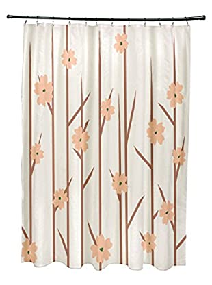 e by design Floral Branches Shower Curtain, Ivory/Pink