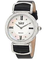 Burgi Women's BUR065BK Swiss Quartz Diamond Strap Watch